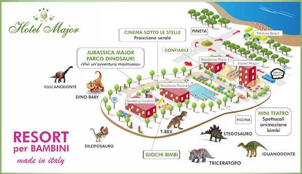 Mappa dei dinosauri Hotel Major