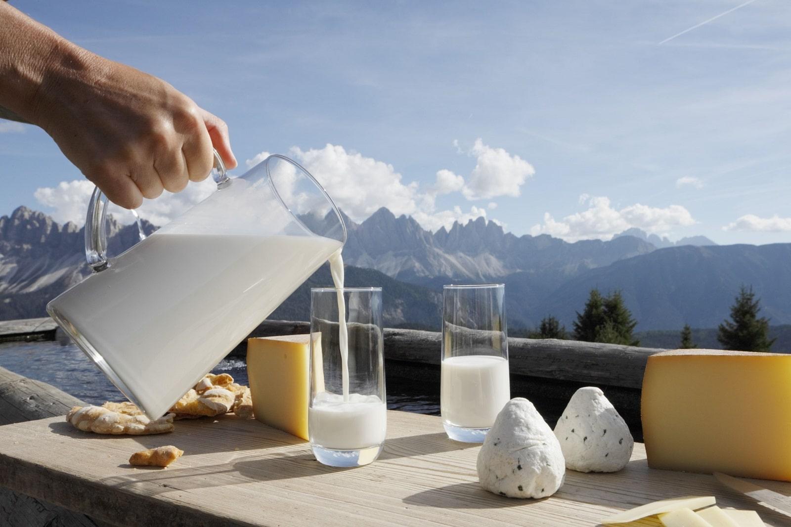 Suedtirol, Italien, Aufnahmen fuer den Sennereiverband Suedtirol, Milchprodukte fotografiert auf der Plose mit Blick auf die Geisslerspitzen,