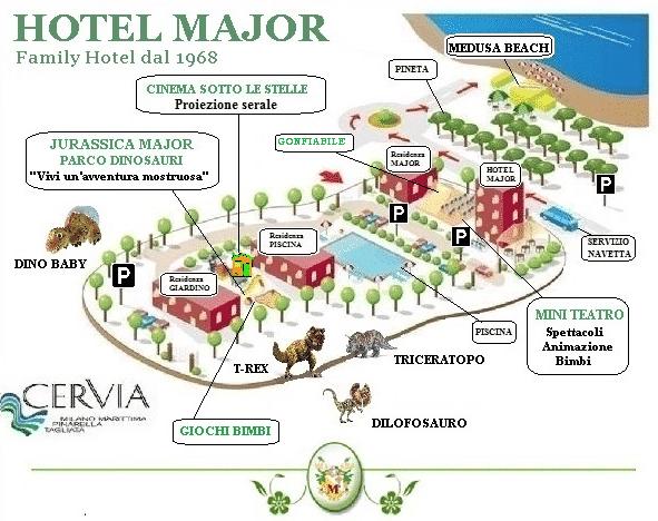 Family hotel cervia, Hotel Major, piantina
