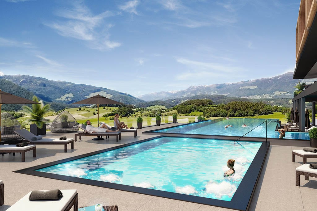 Hotel per bambini in Val Pusteria, Hotel Winkler piscina esterna
