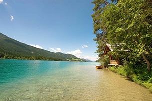 Carinzia sentieri tematici con bambini e passeggini lago Weissensee